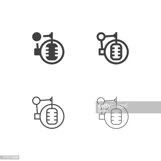 recording studio microphone icons - multi series - soundtrack stock illustrations, clip art, cartoons, & icons