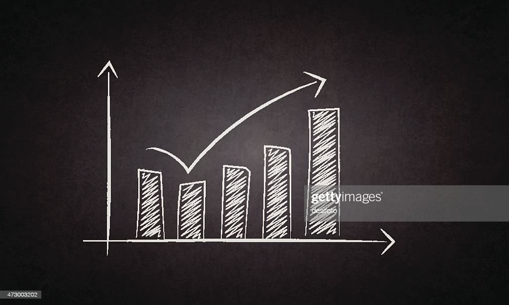 Recovery and Growth bar chart drawn on blackboard