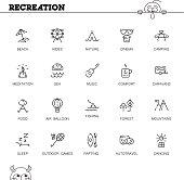 Recreation flat icon set.