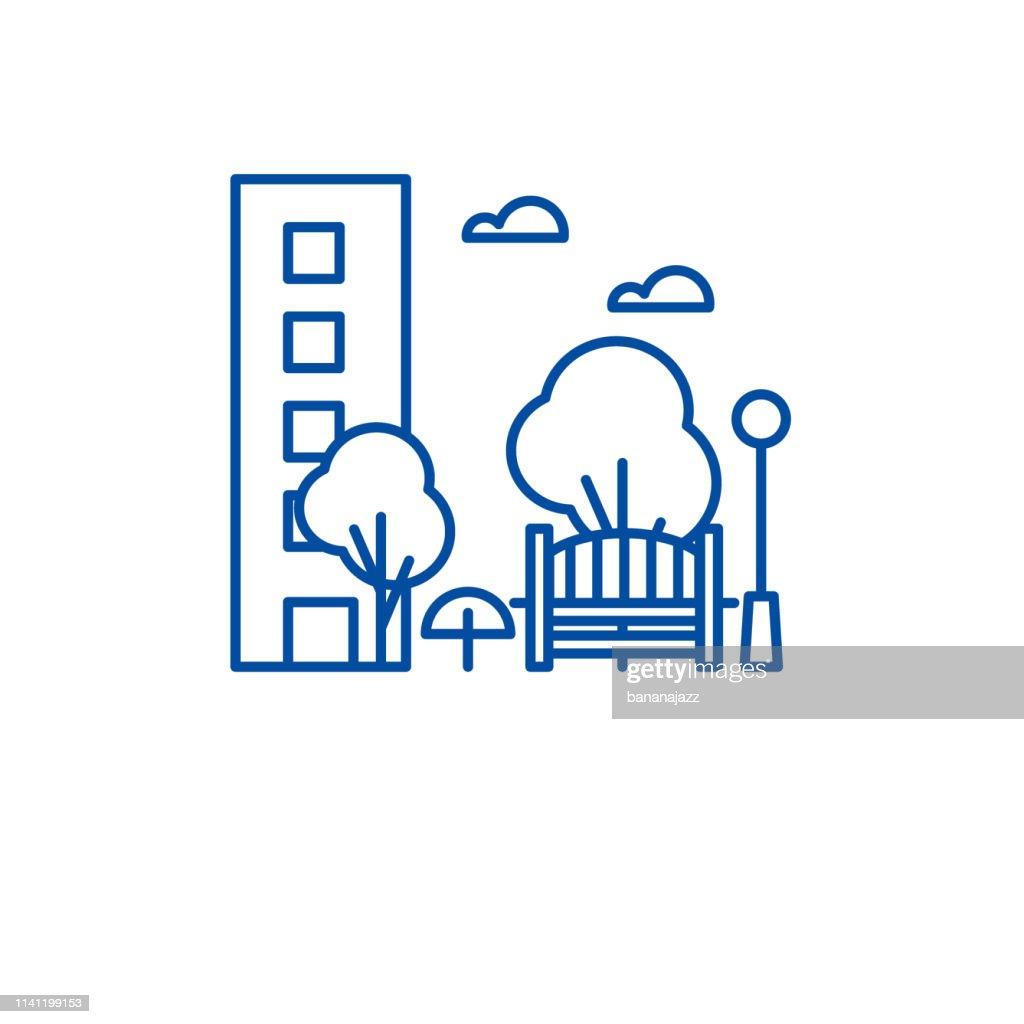 Recreation park line icon concept. Recreation park flat  vector symbol, sign, outline illustration.