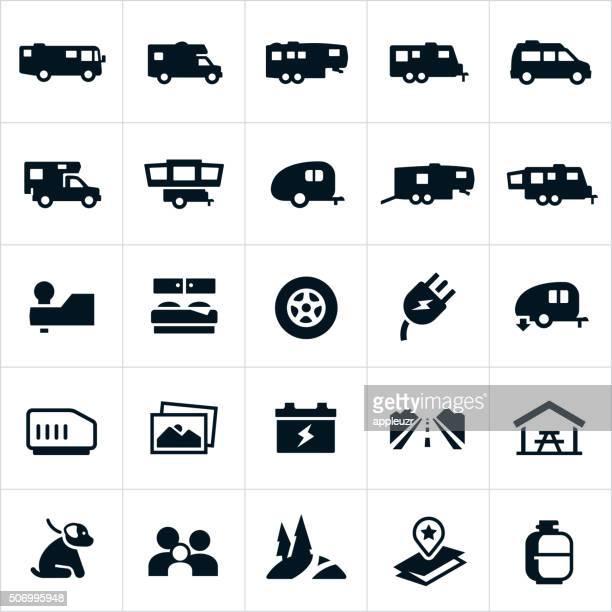 illustrations, cliparts, dessins animés et icônes de icônes de véhicules de loisirs - camping car