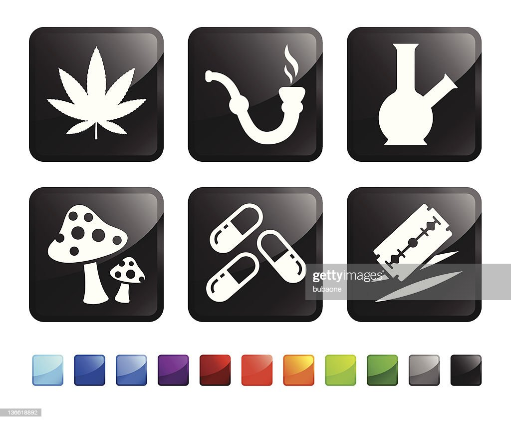 recreational drugs royalty free vector icon set stickers