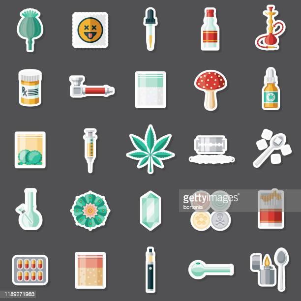 recreational drugs sticker set - crack pipe stock illustrations