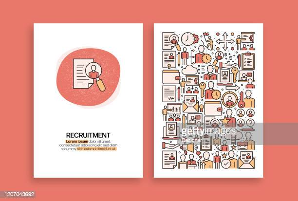 recruitment and human resources related design. modern vector templates for brochure, cover, flyer and annual report. - job fair stock illustrations