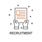 Recruitment. Creative Idea Concept. Moden Flat thin line icon designed vector illustration.Editable Stroke.