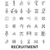 Recruitment, hiring, human resources, career, interview, employment, staffing line icons. Editable strokes. Flat design vector illustration symbol concept. Linear signs isolated