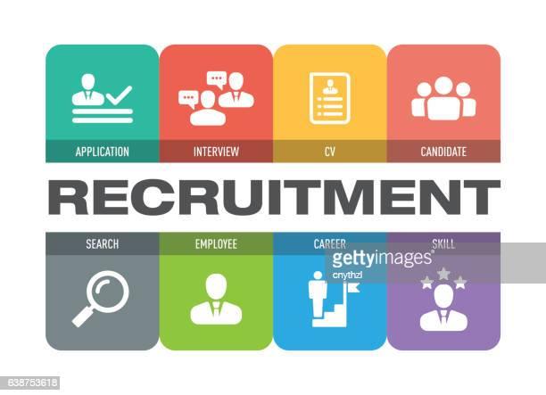 recruitment icon set - recruiter stock illustrations