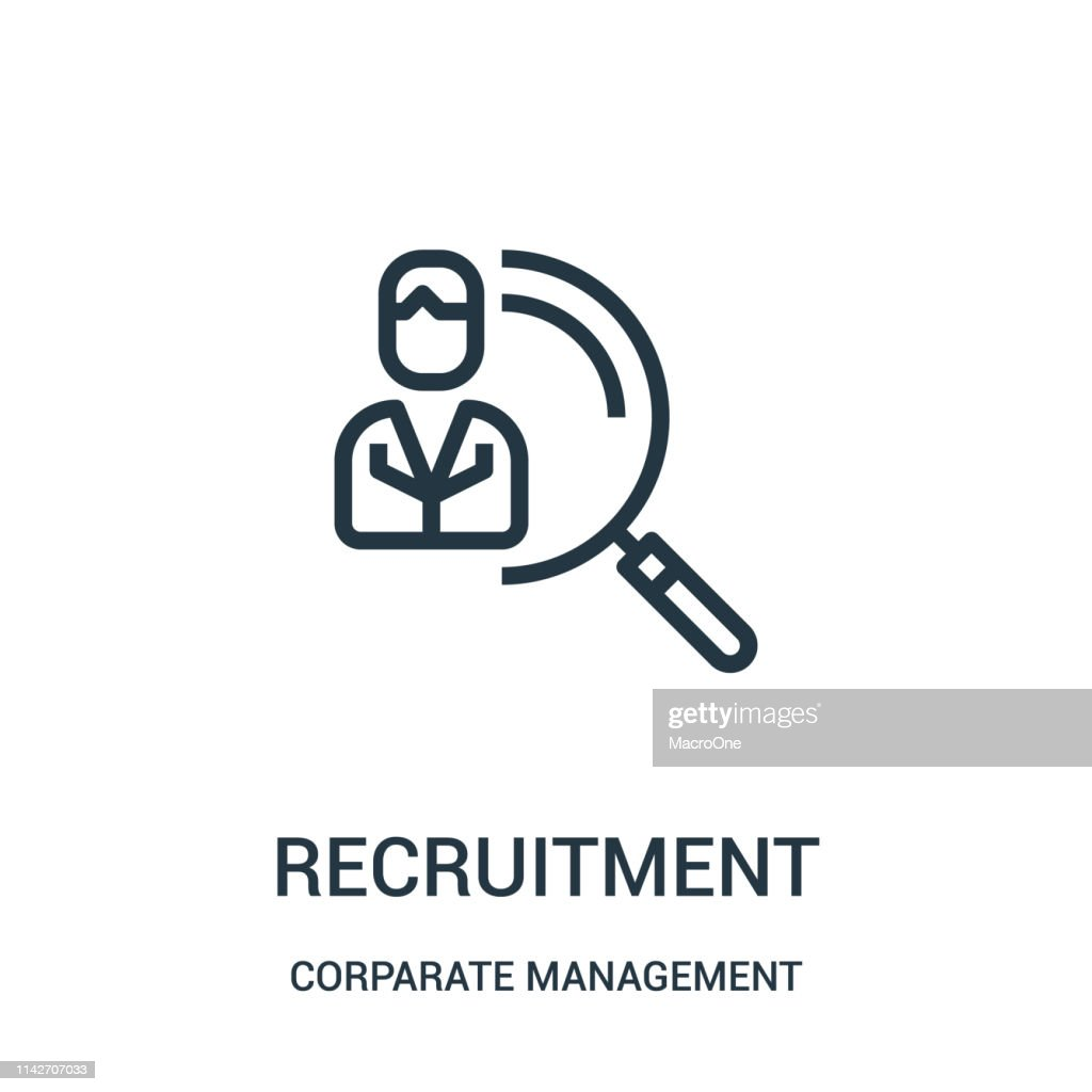 recruitment icon vector from corparate management collection. Thin line recruitment outline icon vector illustration. Linear symbol for use on web and mobile apps, logo, print media.