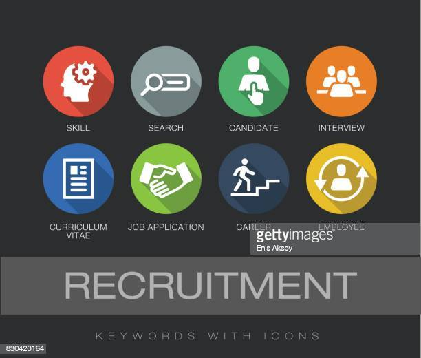 recruitment keywords with icons - skill stock illustrations