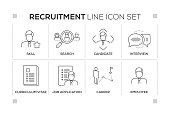 Recruitment keywords with monochrome line icons