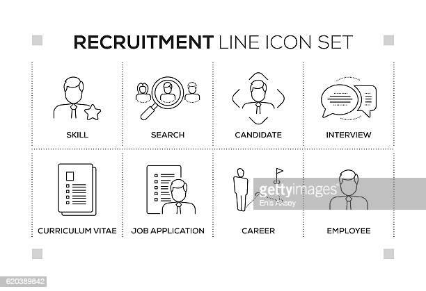 recruitment keywords with monochrome line icons - job interview stock illustrations, clip art, cartoons, & icons