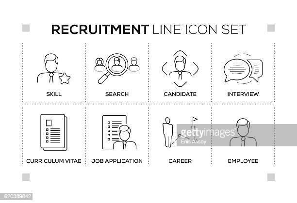 Recruitment keywords with monochrome line icons