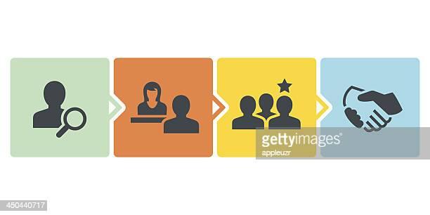 recruitment process - job interview stock illustrations, clip art, cartoons, & icons