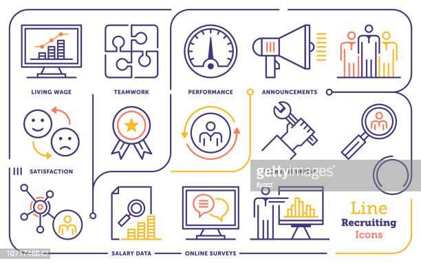 recruitment & retention line icon set - memories stock illustrations