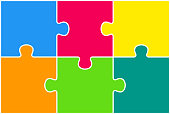 Rectangle background, banner with jigsaw puzzle color separate pieces, details, parts. Infographics.