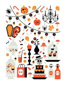 Rectangle composition with halloween silhouettes
