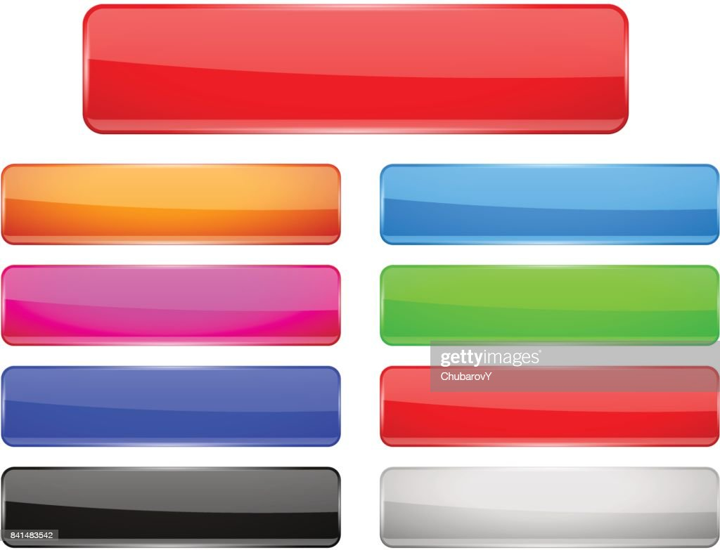 Rectangle glass menu buttons Colored set