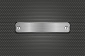 Rectangle iron plate with rivets on metal perforated background
