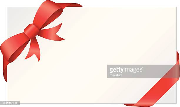 Rectangular gift card wrapped with red bow