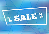 Rectangular horizontal template with frame, text Sale and percentage icons.