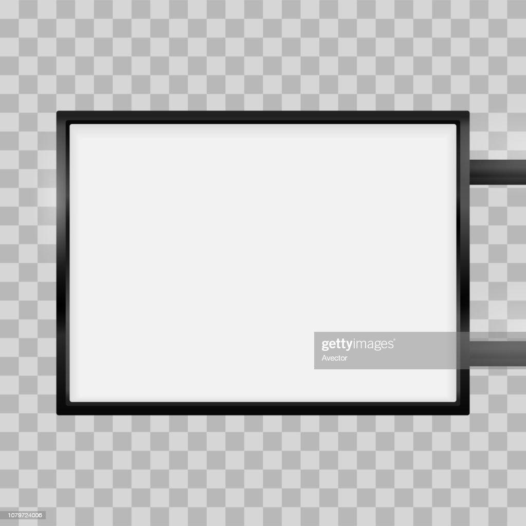 Rectangular signage light box signboard. Vector rectangle lightbox sign box mockup for logo template. Black metal cafe, restaurant outdoor mock up on transparent background