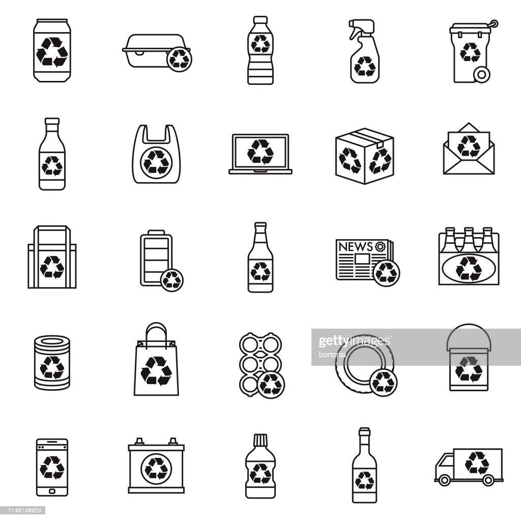 Jogo do ícone dos recyclables : Ilustração