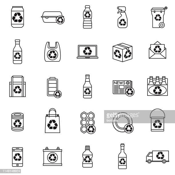 recyclables icon set - can stock illustrations