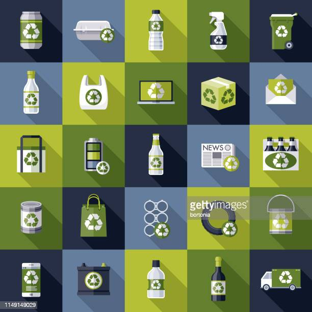 recyclables icon set - water bottle stock illustrations, clip art, cartoons, & icons