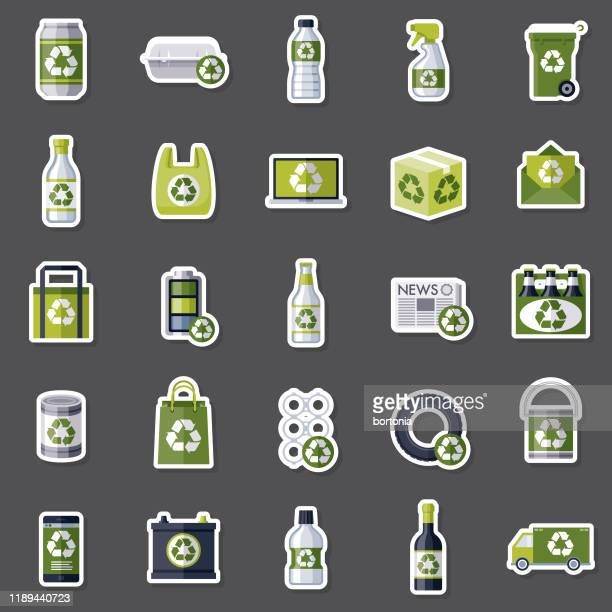 recyclables sticker set - reusable stock illustrations