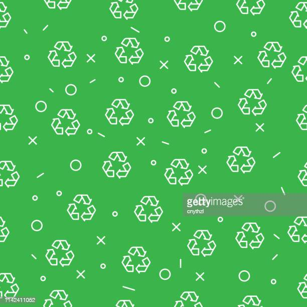 recycle and ecology seamless pattern - recycling stock illustrations