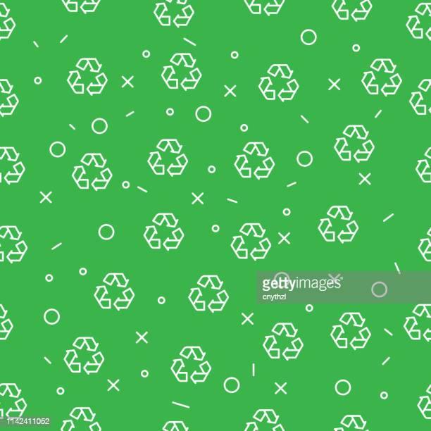 リサイクルとエコロジーのシームレスなパターン - 再生利用点のイラスト素材/クリップアート素材/マンガ素材/アイコン素材