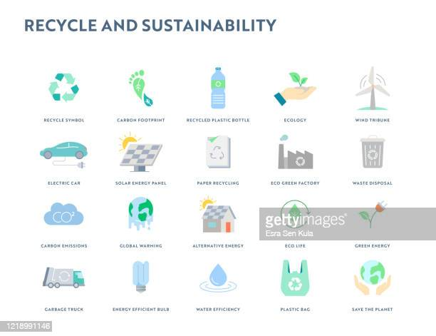 リサイクルと持続可能性フラットアイコンセット。ピクセルパーフェクト。 - 持続可能な開発目標点のイラスト素材/クリップアート素材/マンガ素材/アイコン素材