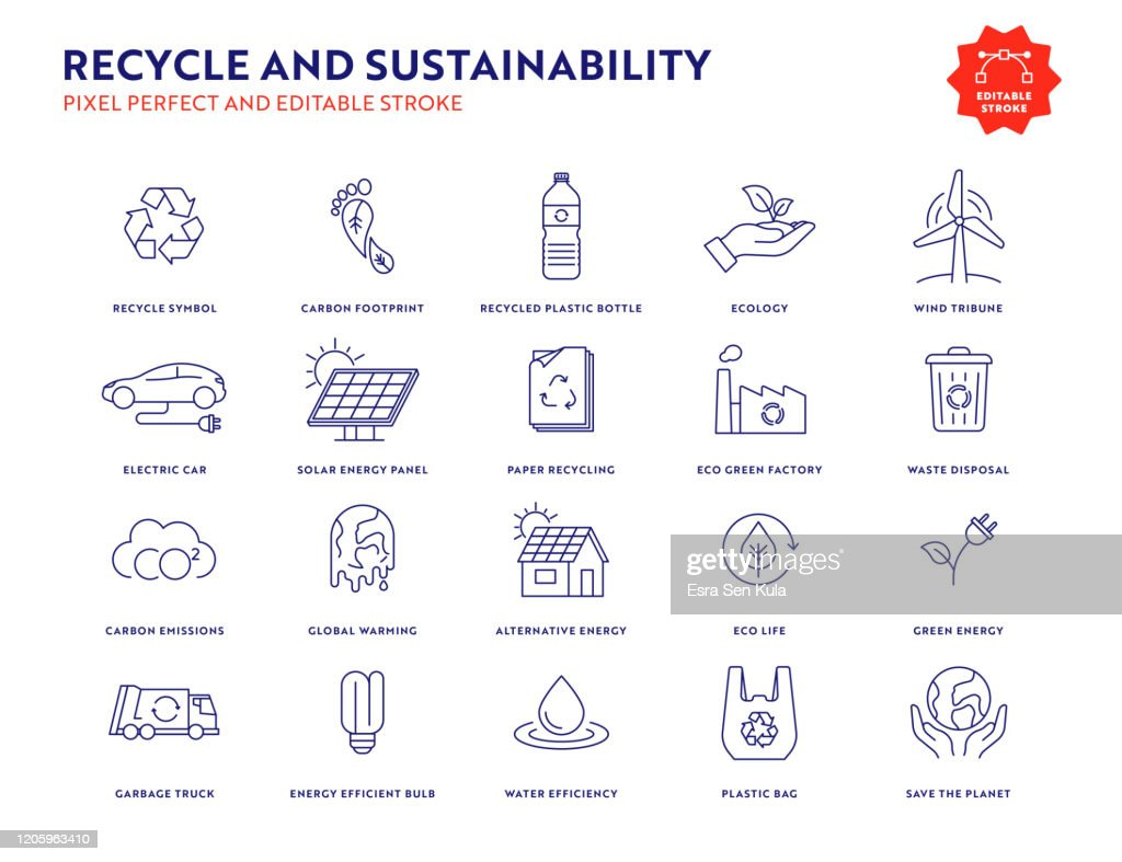 Recycle and Sustainability Icon Set med redigerbar stroke och Pixel Perfect. : Illustrationer