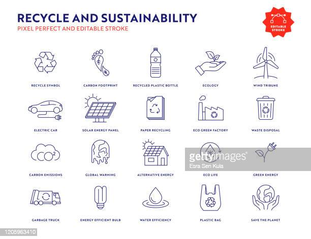 recycle and sustainability icon set with editable stroke and pixel perfect. - sustainable lifestyle stock illustrations