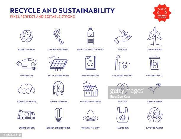 bildbanksillustrationer, clip art samt tecknat material och ikoner med recycle and sustainability icon set med redigerbar stroke och pixel perfect. - hållbara resurser