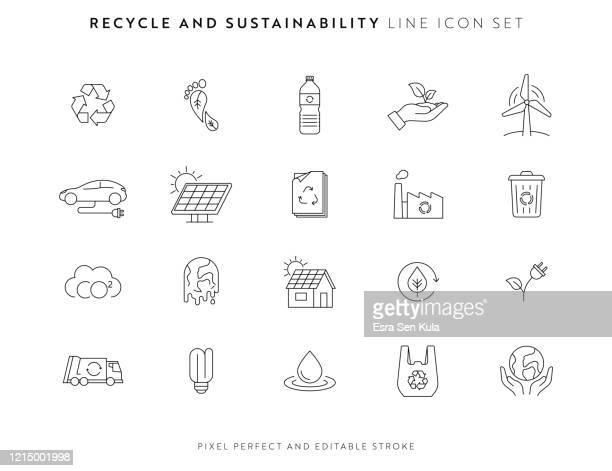 bildbanksillustrationer, clip art samt tecknat material och ikoner med återvinnings- och hållbarhetsikonuppsättning med redigerbar linje och pixel perfekt. - vindkraft