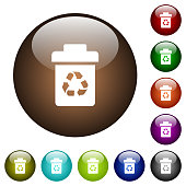 Recycle bin color glass buttons