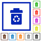 Recycle bin flat framed icons