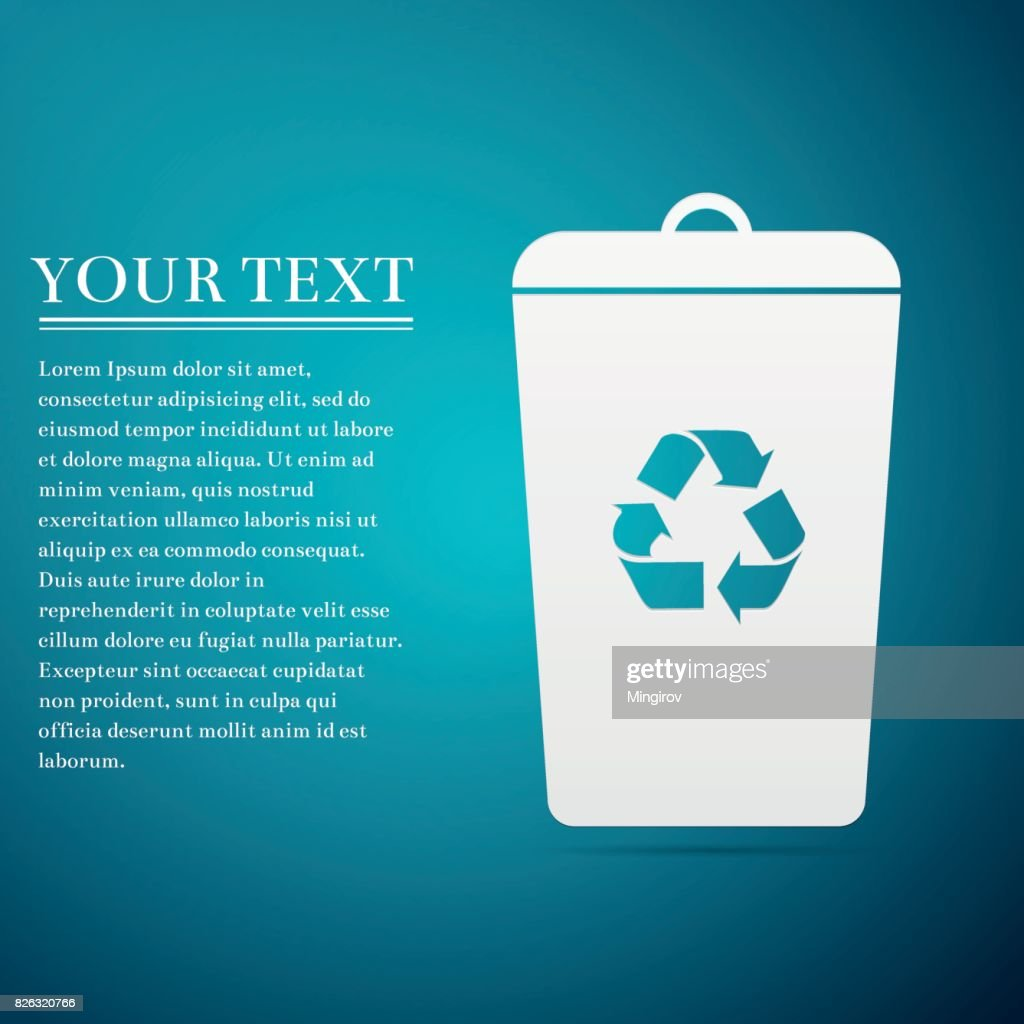 Recycle bin flat icon on blue background. Vector Illustration