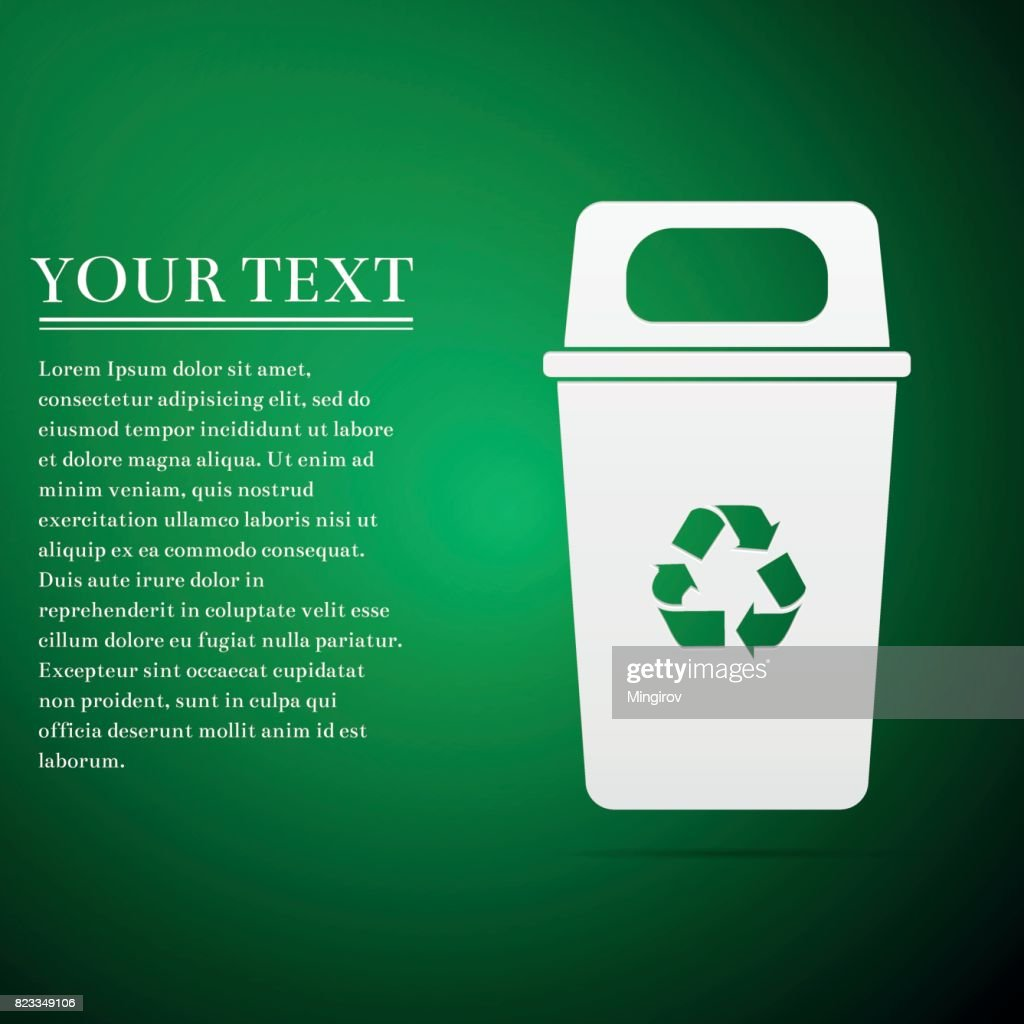 Recycle bin flat icon on green background. Vector Illustration