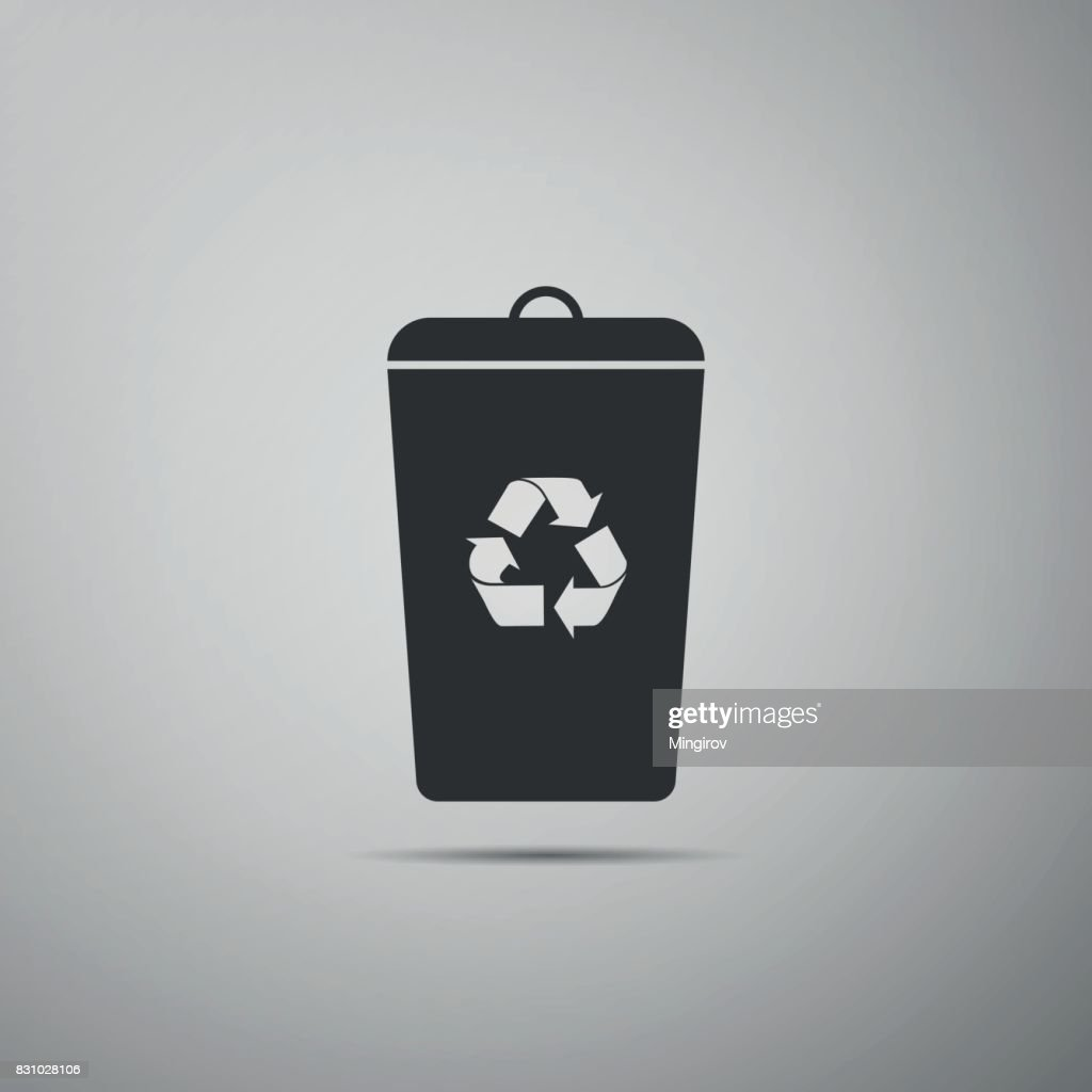 Recycle bin flat icon on grey background. Vector Illustration