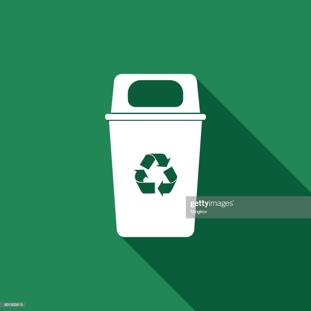 Recycle bin flat icon with long shadow. Vector Illustration