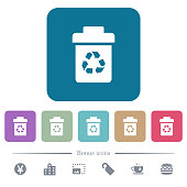 Recycle bin flat icons on color rounded square backgrounds