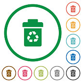 Recycle bin flat icons with outlines