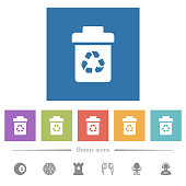 Recycle bin flat white icons in square backgrounds