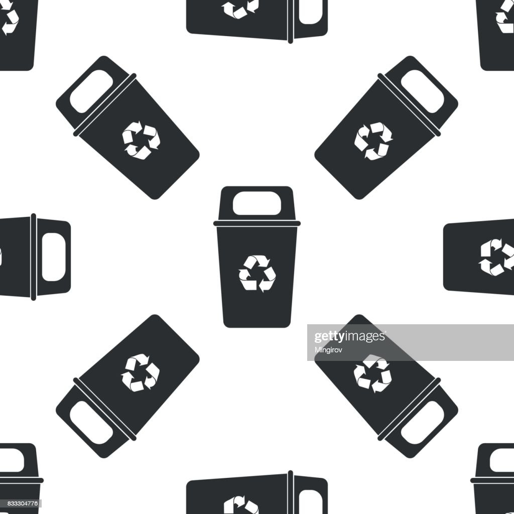 Recycle bin icon seamless pattern on white background. Vector Illustration