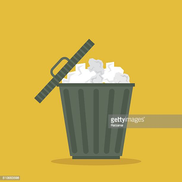 recycle bin icon vector - garbage bin stock illustrations