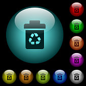 Recycle bin icons in color illuminated glass buttons
