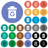 Recycle bin round flat multi colored icons