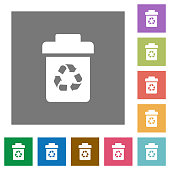 Recycle bin square flat icons